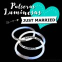 Pulseras Luminosas Impresas: Just Married - 50 uds