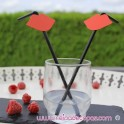 Red straws with black moustache - 6 units