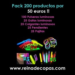 Pack fiesta luminosa 200 productos