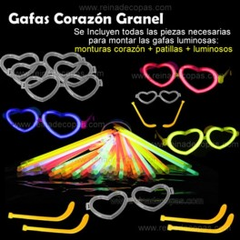 Glow heart glasses. 100 pieces in bulk