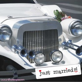 "Matrícula Coche Novios ""JUST MARRIED"""
