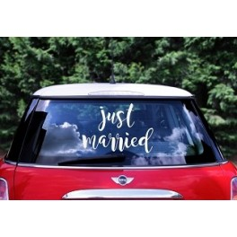 "Wedding day car sticker ""Just Married"""