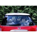 "Pegatina coche novios ""Mr. and Mrs"""
