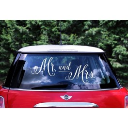 "Wedding day car sticker ""Mr. and Mrs."""