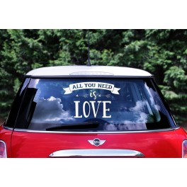 "Wedding day car sticker ""All you need is love"""