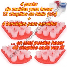 48 Ice shot glasses + 4 Serving tray